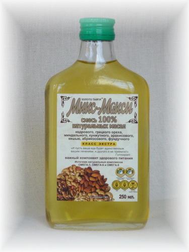 Ореховый МИКС-МАКСИ (смесь 100% масел кедрового, грецкого, кунжутного, миндального, абрикосового, кешью, арахисового, фундука)  0,25 л